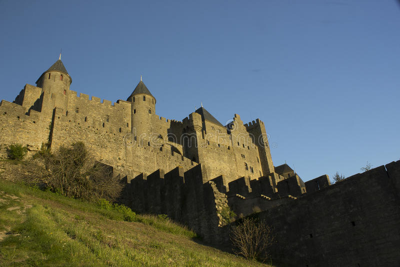 Historic fortified city of Carcassone, France. Carcassonne, a hilltop town in southern France's Languedoc area, is famous for its medieval citadel stock images