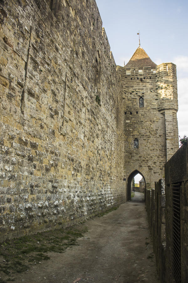 Historic fortified city of Carcassone, France stock photo
