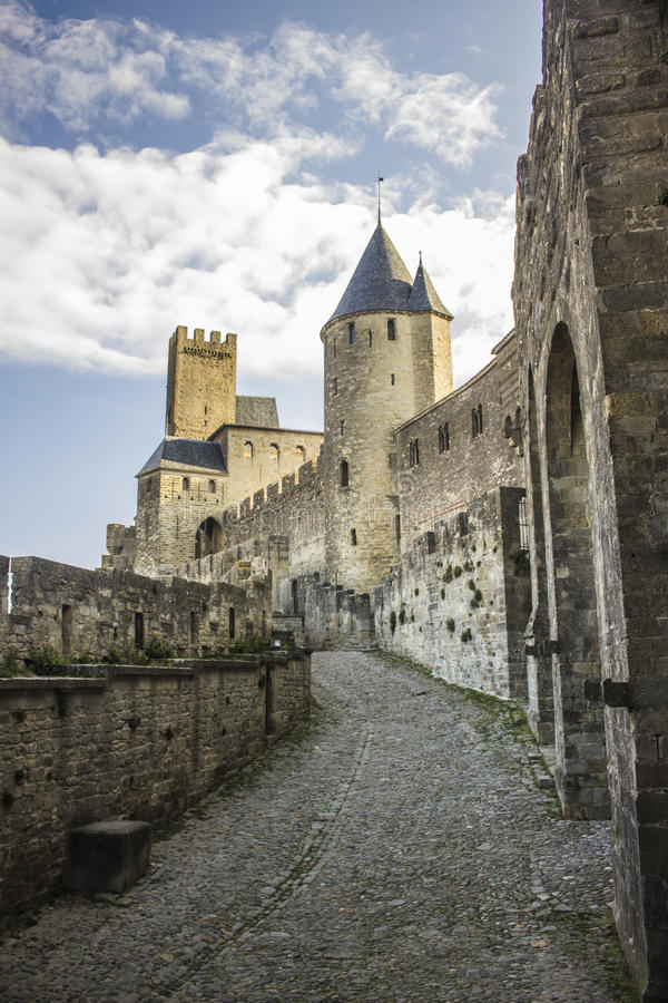 Historic fortified city of Carcassone, France royalty free stock photos