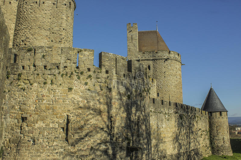 Historic Fortified city of Carcassone, France royalty free stock photo