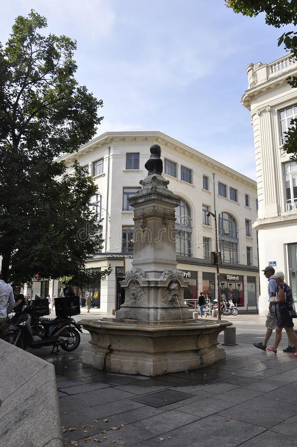 Avignon, 10th september: Rue Republique Main Street Historic Fountain Monument view Downtown of Avignon in Provence France stock images