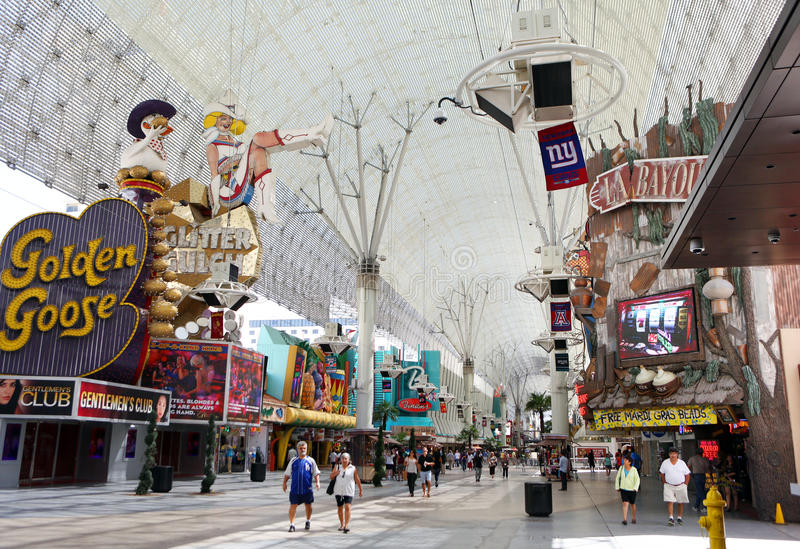 Historic Fremont Street in Las Vegas. Historic Fremont Street Experience and neon casino signs are shown in Las Vegas stock photos