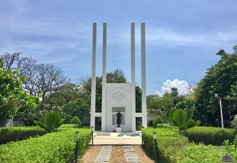 The historic French War Memorial in Pondicherry. The historic French War Memorial built in 1937 and inaugurated in 1938 by the French Governor of Pondicherry is stock photography
