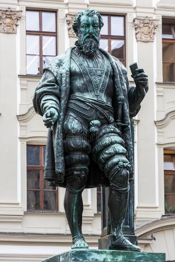 Historic Fugger sculpture in Augsburg stock images