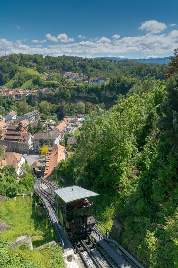Fribourg, FR / Switzerland / 30 May 2019: the historic funicular tramway connecting upper and lower Fribourg city in the old town stock photos