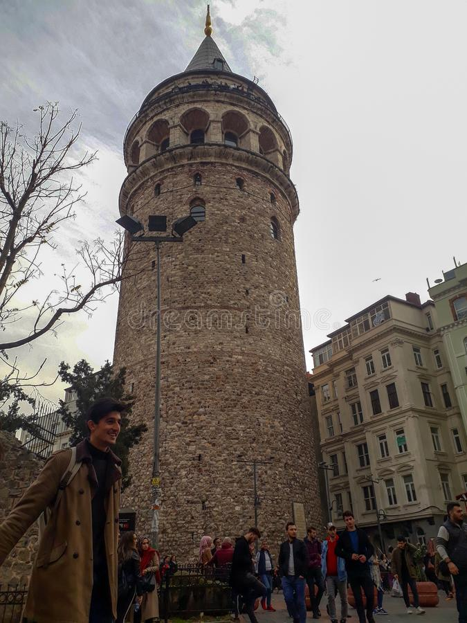 Historic Galata Tower in Beyoglu Istanbul. Historical Galata Tower in Beyoglu Istanbul Turkey stock photography