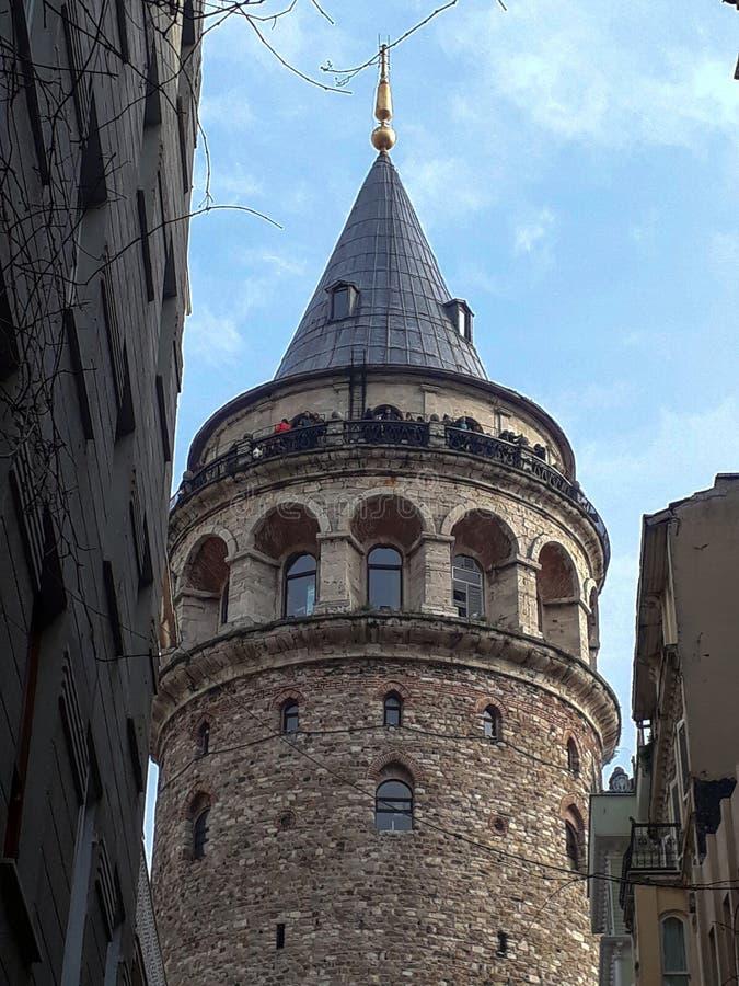Historic Galata Tower in Beyoglu Istanbul. Historical Galata Tower & Visitors in Galata Beyoglu Istanbul royalty free stock image