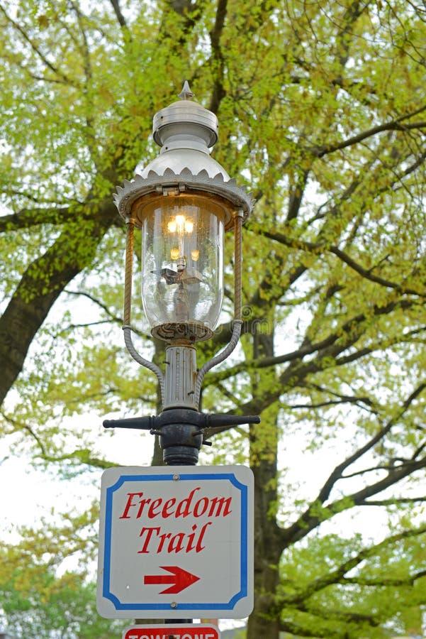 Historic Gaslight in Charlestown, Boston, MA, USA. Historic Gaslight on Winthrop Square on Freedom Trail in Charlestown, Boston, Massachusetts, USA stock photo