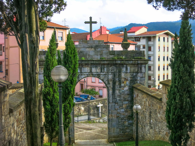 Historic gate Bilbao, Basque Country, Spain. royalty free stock photography
