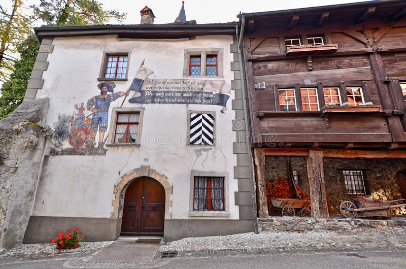 Historic Gatehouse building in Buchs - St. Gallen, Switzerland. Buchs, St. Gallen / Switzerland - October 22nd 2018: Entrance/Gatehouse into the medieval stock photo