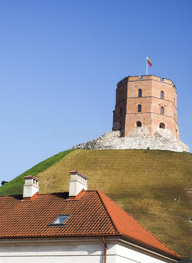 Historic Gedimino Fort on Gediminas` Hill old district Vilnius, royalty free stock photography