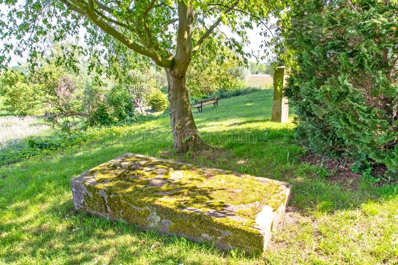 Historic gravestone overgrown with moss on the abandoned cemetery of the Altenkrempe basilica in Ostholstein. In summer royalty free stock photo