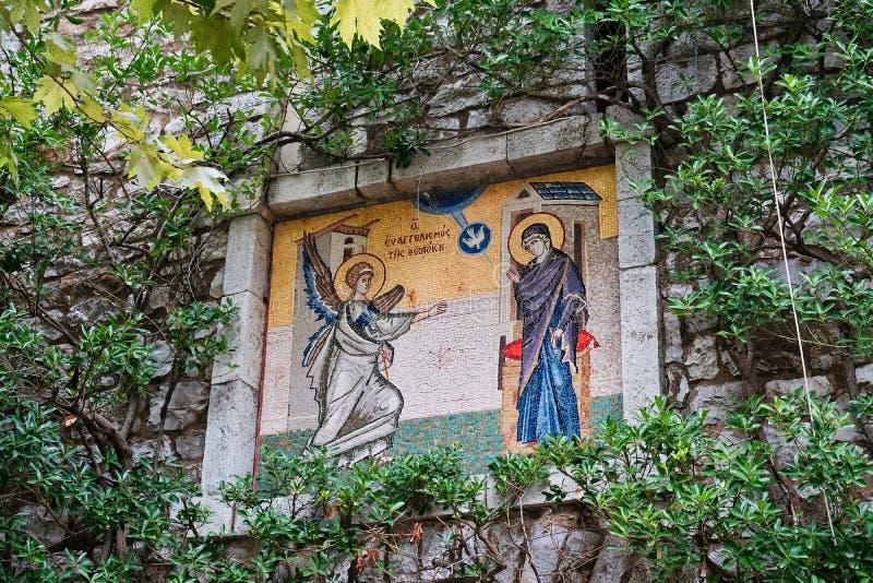 Mosaic Icon, Greek Orthodox Church, Agia Lavra Monastery, Peloponnese, Greece stock photography