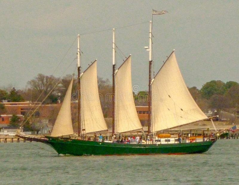 Historic schooner sailing in the York River Virginia royalty free stock photography