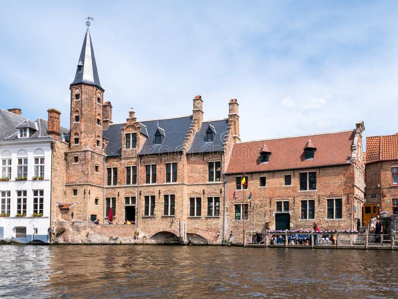 Historic guildhall of tanners along Dijver canal in Bruges, Belgium. Historic guildhall of tanners along Dijver canal in old town of Bruges, Belgium royalty free stock photos