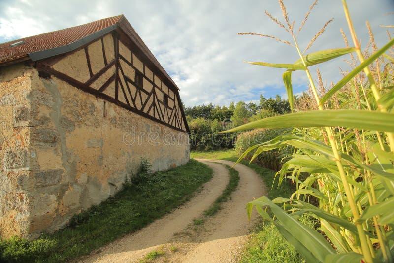 Historic half timbered barn in Pfaffenhofen, Upper Palatinate, Germany.  stock image