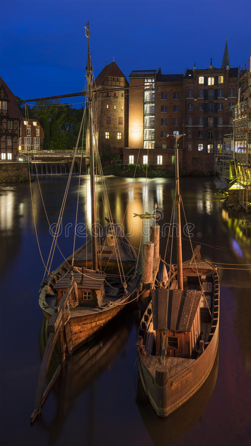 Historic harbor of Luneburg royalty free stock photos