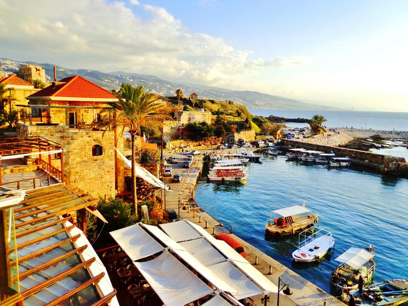Old Mediterranean City and Waterfront Harbor - Byblos, Lebanon royalty free stock photos