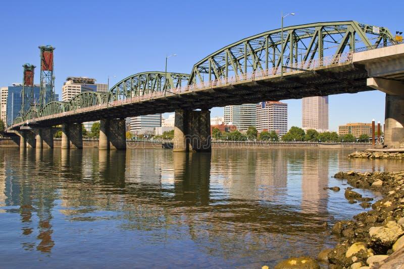 Historic Hawthorne Bridge. Over Willamette River Portland Oregon royalty free stock photography