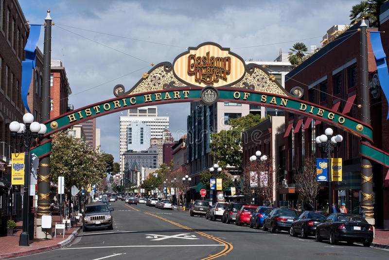 Historic Heart of San Diego, California. Beautiful sign in downtown San Diego, California, denoting the Gaslamp District, the Historic Heart of San Diego stock photos