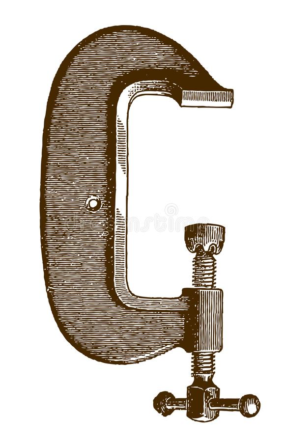 Historic heavy steel clamp in side view. After an etching or engraving from the 19th century vector illustration