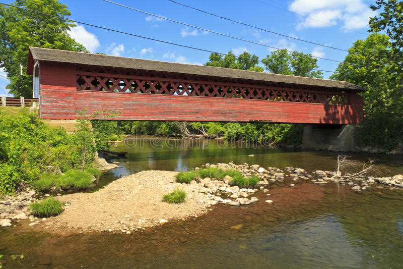 Henry Covered Bridge. Historic Henry Covered bridge over the Walloomsac River e in Bennington, Vermont stock photo