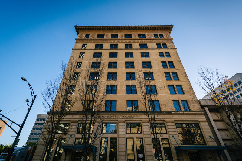 Historic highrise building in downtown Winston-Salem, North Carolina. stock photo