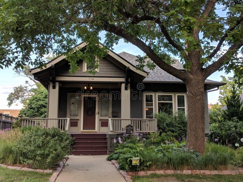 Sioux Falls Historic Homes: Craftsman Bundalow. A historic home in Sioux Falls in Craftsman Bungalow style architecture stock photos
