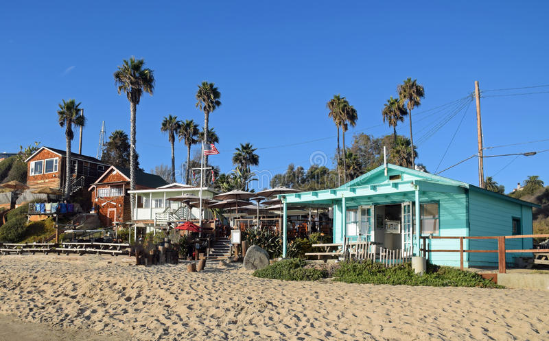 Historic homes in the Crystal Cove State Park. Image shows historic homes on the beach in the Crystal Cove State Park and part of the Crystal Cove Historic stock photo