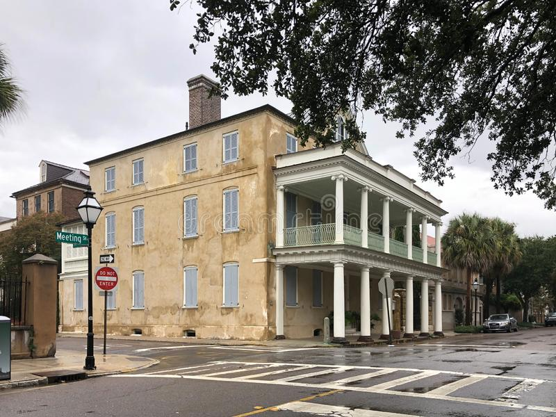 Bracing for Hurricane Dorian. Historic homes in downtown Charleston, South Carolina are boarded up to protect them from Hurricane Dorian stock photography
