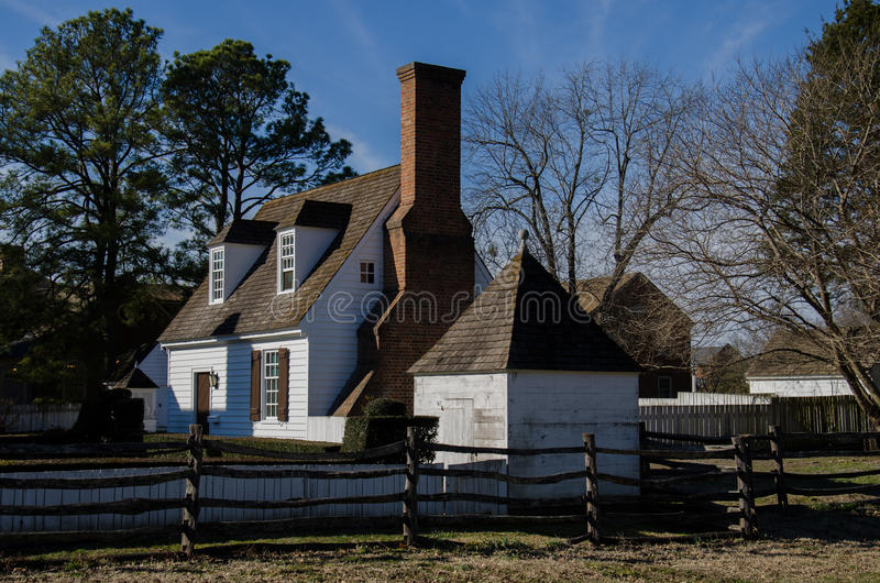 Historic house in Colonial Williamsburg, VA. Historic house in Colonial Williamsburg, Virginia, USA along Duke of Gloucester Street royalty free stock photos