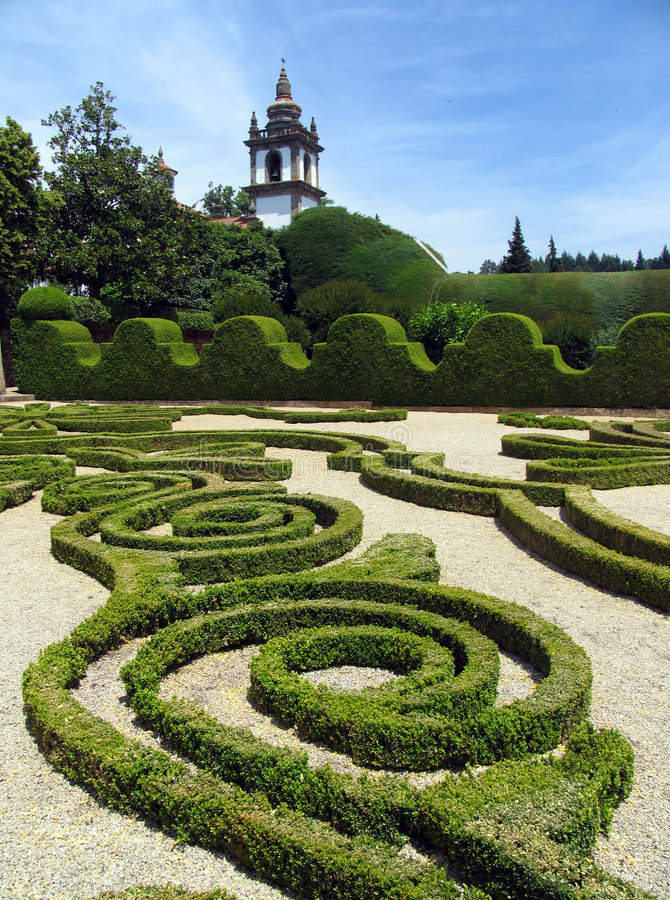 Historic house and garden. With green bushes, Portugal, Europe stock photos