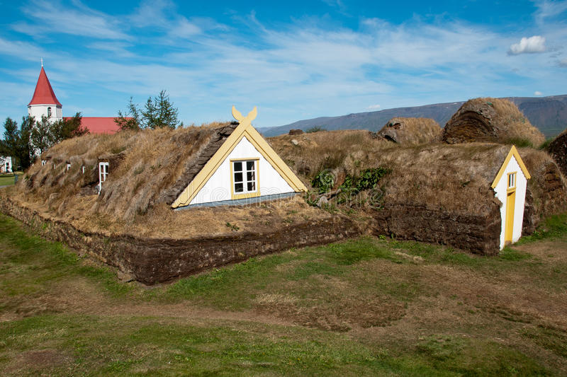 Historic house Iceland. Historic museum house in Iceland stock photo