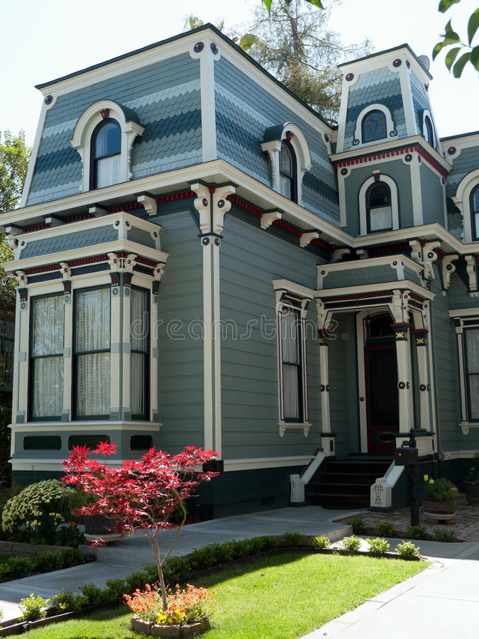 Historic House in San Jose CA. Newly redecorated victorian house San Jose California, tasetful combination of shades of brown green blue royalty free stock images