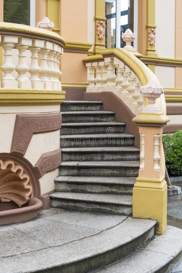 Historic house in Spain. With a staircase, stucco moldings and bright coloring stock photos