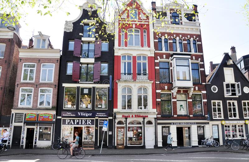 Historic houses in Amsterdam old town, the Netherlands stock photos