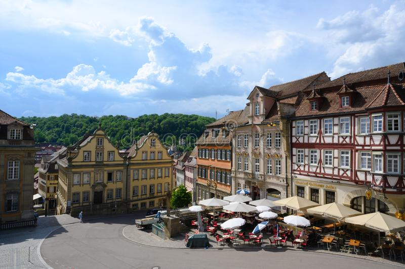 Historic houses, half timbered houses in Schwabisch Hall, Germany. Restaurants and Cafès on market place. stock images