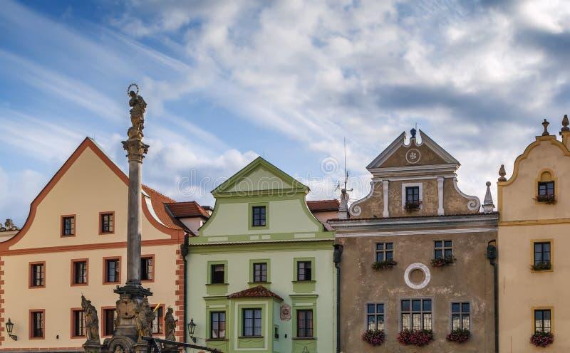 Main square in Cesky Krumlov, Czech republic stock images