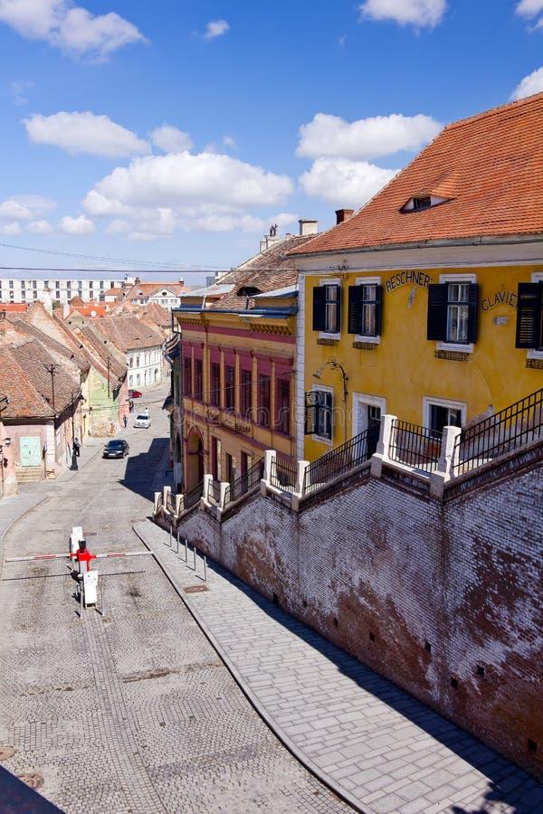 Historic houses of Sibiu, Transylvania, Romania stock photos