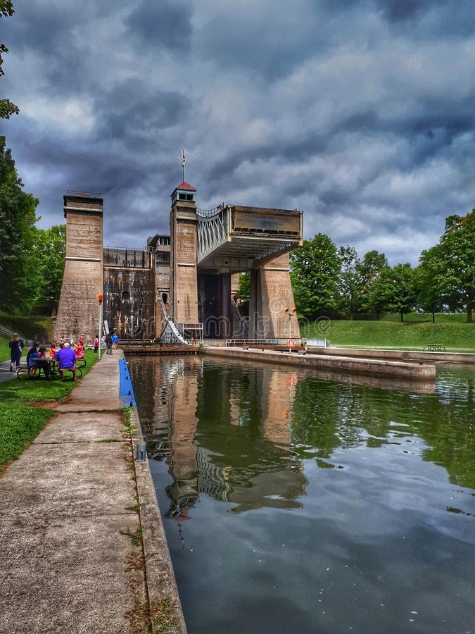 Hydraulic Lift Lock In Peterborough, Ontario. The historic hydraulic lift locks on the Trent Severn Waterway in Peterborough, Ontario, Canada. Also known as Lock royalty free stock image