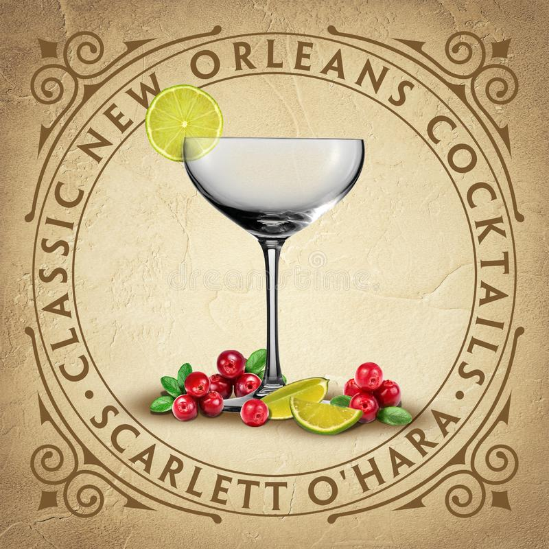 Historic Iconic Classic New Orleans Cocktails royalty free stock image