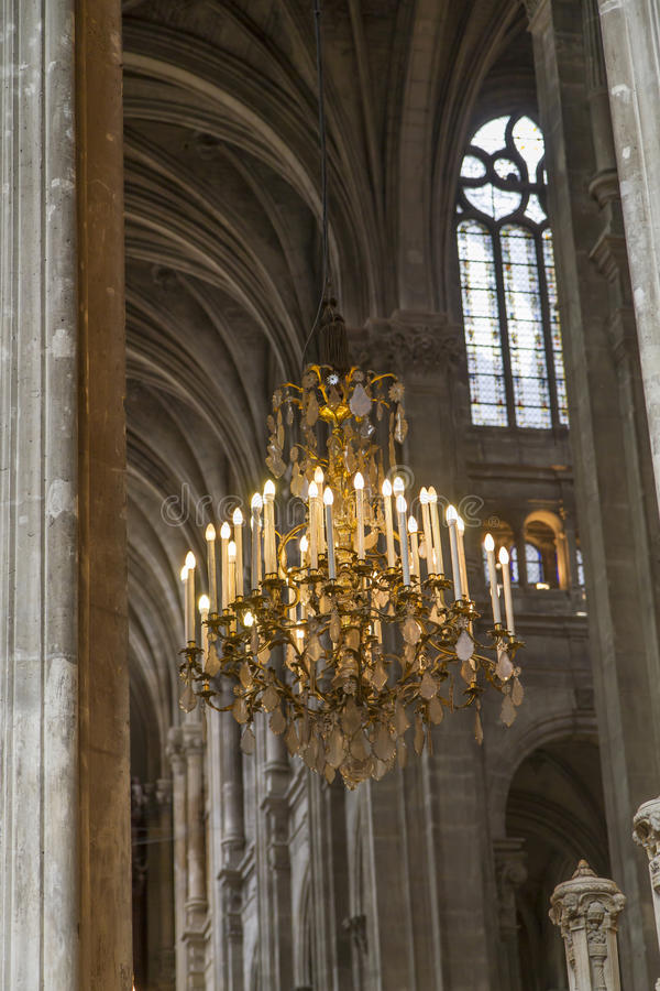 Download Historic Illuminated Chandelier Stock Photo - Image of gothic, vault: 25294598
