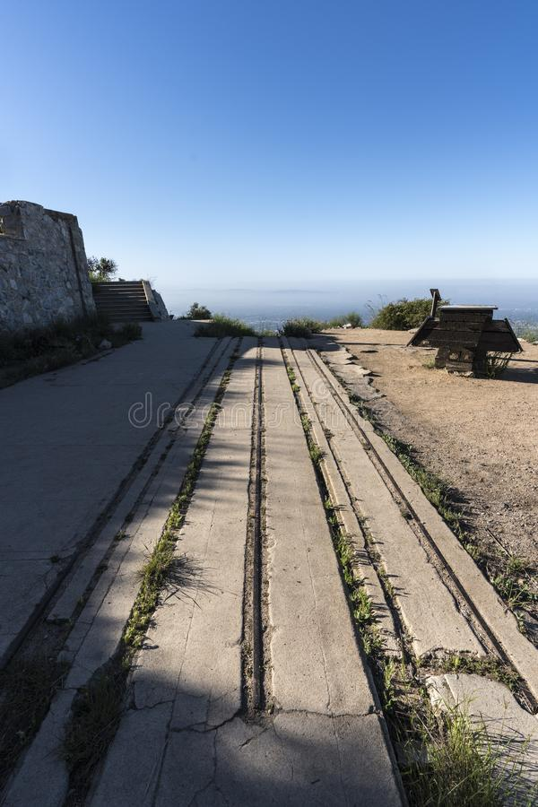 Echo Mtn Ruins Los Angeles California. Historic incline railway ruins on top of Echo Mtn in the Angeles National Forest above Pasadena and Los Angeles royalty free stock photos
