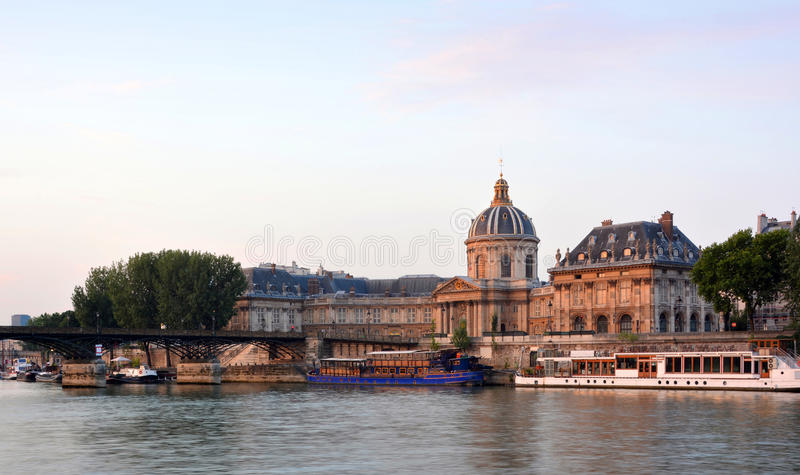 Historic Institut de France Building on the banks of The Seine R stock photo