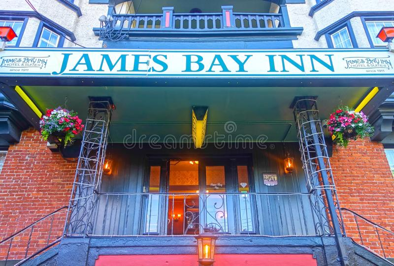 Historic James Bay Inn Facade Hotel Building Exterior Victoria BC Downtown Harbor Vancouver Island Canada royalty free stock photos
