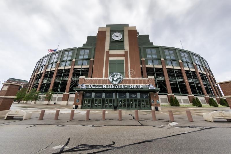 Historic Lambeau Field, Home of the Green Bay Pakers in Green Way, Wisconsin. June 25, 2019 - Green Bay, Wisconsin, USA: Historic Lambeau Field, home of the royalty free stock photo