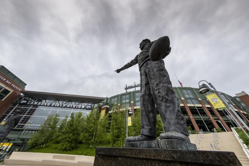 Historic Lambeau Field, Home of the Green Bay Pakers in Green Way, Wisconsin. June 25, 2019 - Green Bay, Wisconsin, USA: Historic Lambeau Field, home of the royalty free stock images