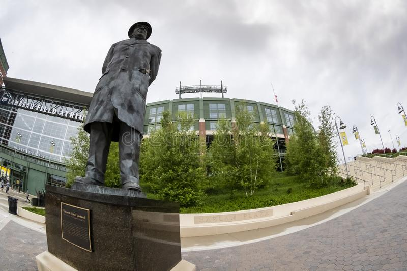 Historic Lambeau Field, Home of the Green Bay Pakers in Green Way, Wisconsin. June 24, 2019 - Green Bay, Wisconsin, USA: Historic Lambeau Field, home of the stock photography
