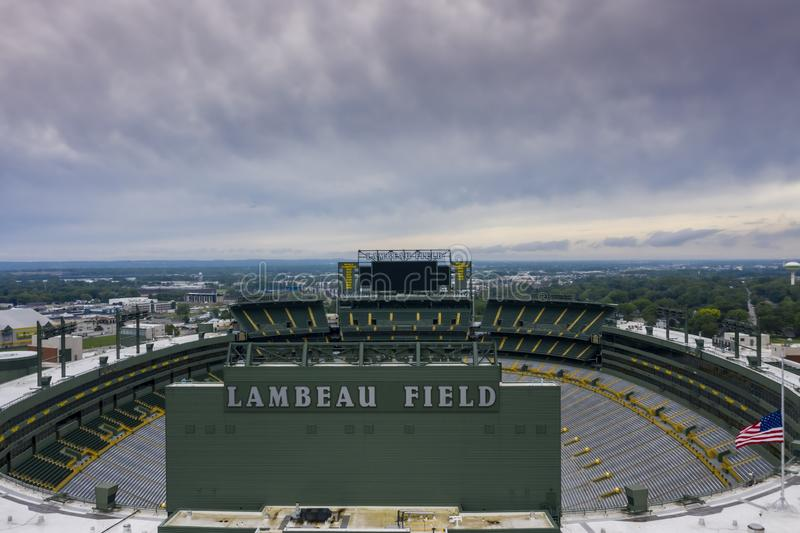 Historic Lambeau Field, Home of the Green Bay Pakers in Green Way, Wisconsin. June 25, 2019 - Green Bay, Wisconsin, USA: Historic Lambeau Field, home of the royalty free stock image
