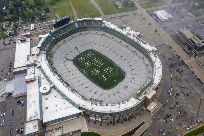 Historic Lambeau Field, Home of the Green Bay Pakers in Green Way, Wisconsin. June 25, 2019 - Green Bay, Wisconsin, USA: Historic Lambeau Field, home of the royalty free stock photos